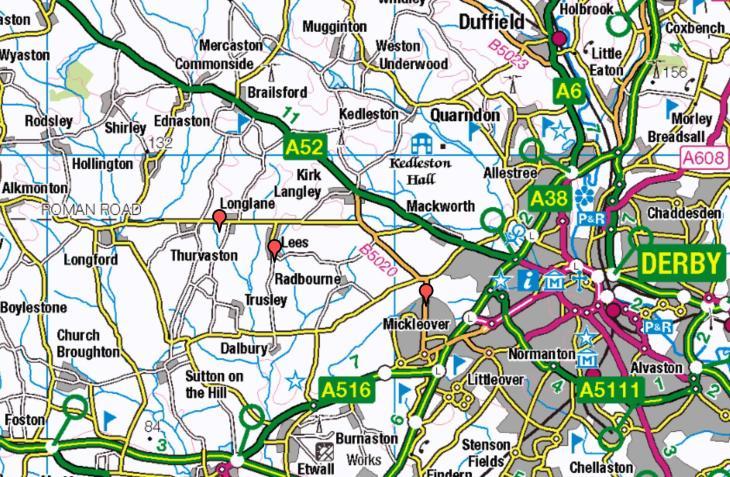 Map of Dalbury Lees
